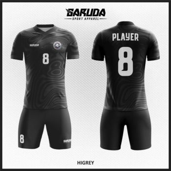 Desain Jersey Futsal Printing Motif Abtrak Warna Hitam Abu Yang Keren