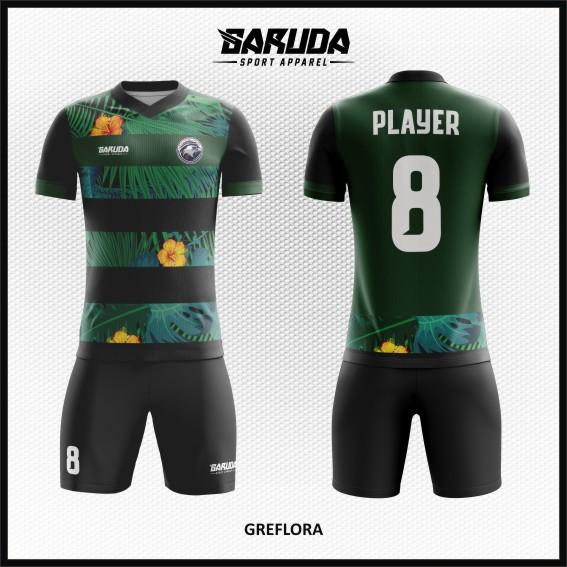 Desain Kostum Sepakbola Warna Hijau Motif Bunga Daun Yang Fresh Banget