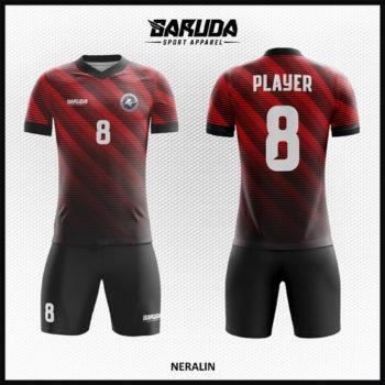 Desain Kostum Futsal Warna Merah Hitam Berkarakter Hebat Dan Kuat
