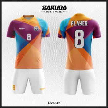 Desain Baju Futsal Full Print Warna Biru Orange Ungu Tunjukan Pesonamu