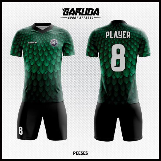 Desain Jersey Sepakbola Full Print Motif Bulu Elang Warna Hijau Yang Menawan