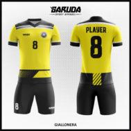 Desain Kostum Futsal Full Print Warna Kuning Tampil Lebih Dinamis