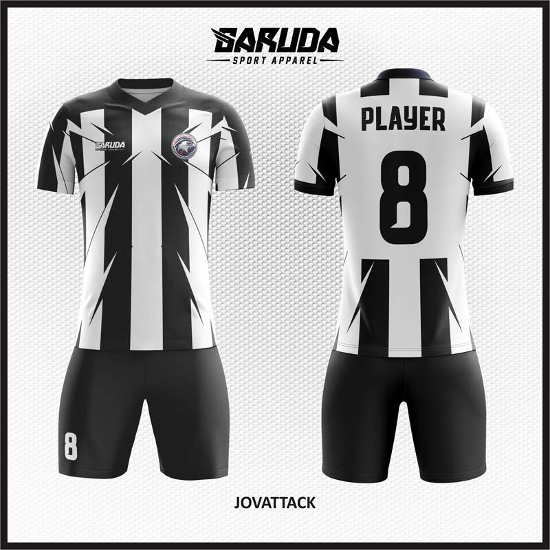 Desain Baju Futsal Printing Warna Hitam Putih Khas Juventus