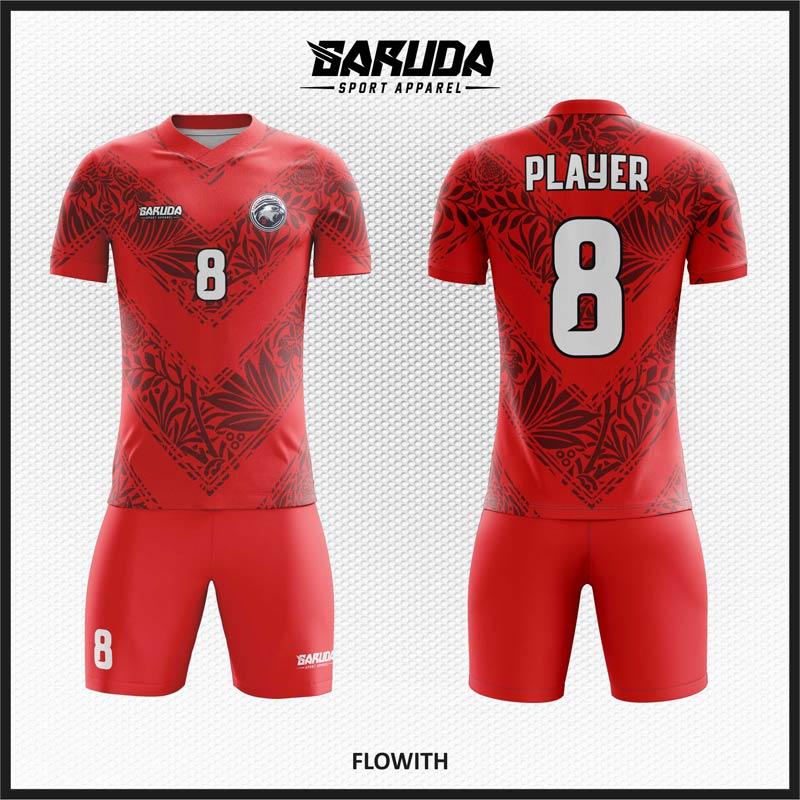 Desain Kaos Sepak Bola Warna Merah Yang Dinamis
