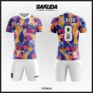 Desain Jersey Full Print Futsal Motif Bunga Cantik Menarik Hati