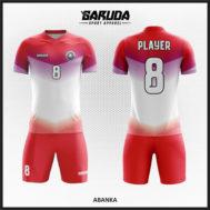 Desain Kaos Bola Full Printing Warna Merah Kobarkan Semangatmu