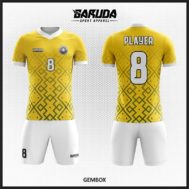 Desain Kaos Futsal Warna Kuning Motif Ornamen Modern Yang Trendy