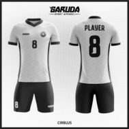 Desain Kostum Futsal Printing Warna Abu Abu Hitam Motif Batik