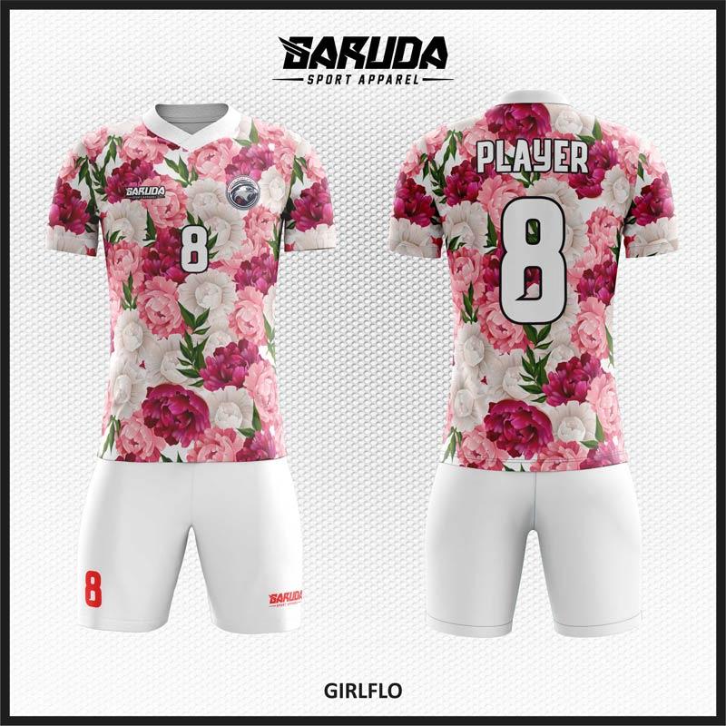 Desain Jersey Bola Warna Putih Bertabur Bunga Begitu Indah