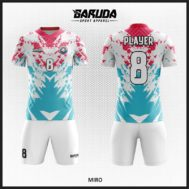 Desain Kaos Futsal Full Print Warna Putih Biru Merah Yang Cool Dan Trendy