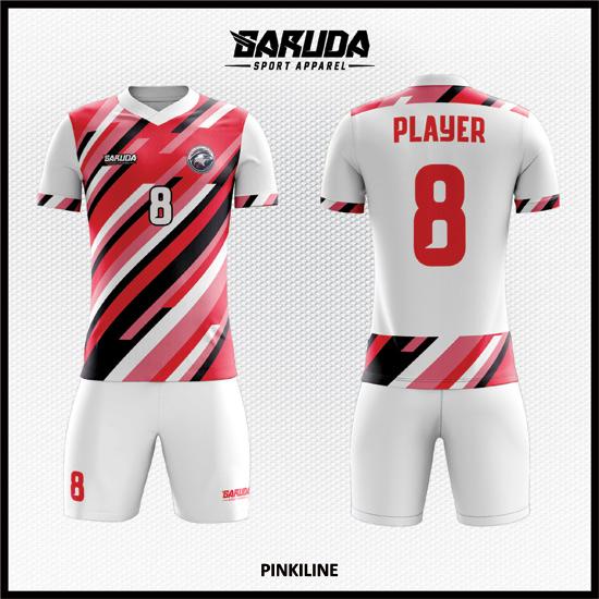 Desain Kostum Futsal Printing Warna Pink Putih Yang Dinamis