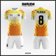 Desain Kaos Bola Futsal Printing Warna Kuning Putih Coklat Yang Unik