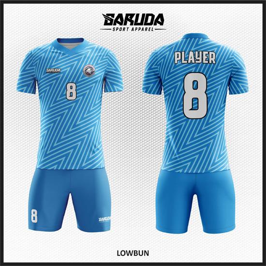 Desain Baju Futsal Printing Motif Zig Zag Warna Biru Tampil Lebih Keren