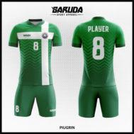 Desain Baju Futsal Printing Warna Hijau Motif Bergelombang Simple Tapi Menawan