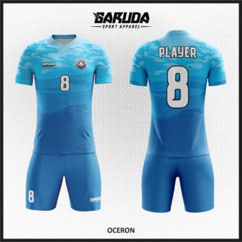 Desain Kostum Sepakbola Printing Warna Biru Laut Yang Trendy Dan Lebih Cool