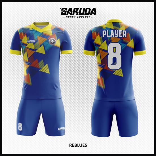 Desain Jersey Bola Futsal Warna Biru Motif Segita Yang Gagah Dan Dinamis