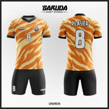 Desain Baju Futsal Printing Warna Orange Kobarkan Semangatmu