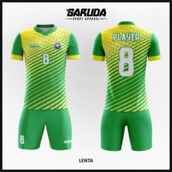 Desain Kaos Futsal Full Print Warna Hijau Kuning Yang  Keren Banget