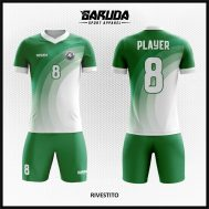 Desain Baju Futsal Full Print Warna Hijau Putih Paling Menarik
