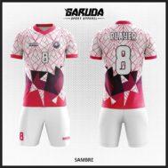 Desain Baju Bola Futsal Printing Warna Putih Pink Berkarakter Kuat