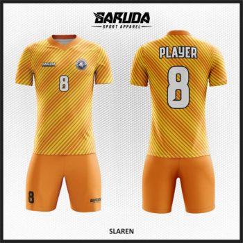 Desain Jersey Futsal Full Print Warna Orange Kuning Diagonal
