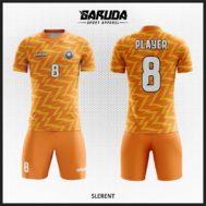 Desain Baju Futsal Warna Orange Motif Bergelombang Yang Memukau