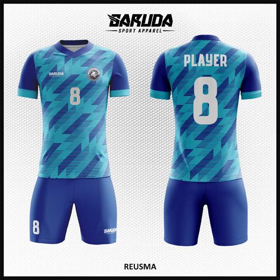 Desain Kaos Futsal Printing Motif Zig Zag Warna Biru Istimewa