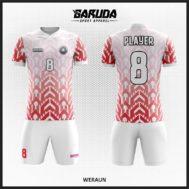 Desain Kostum Futsal Printing Warna Merah Putih Tampil Beda
