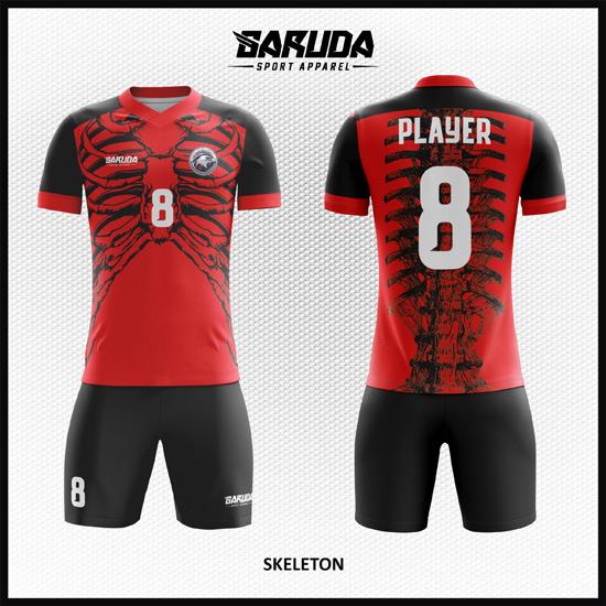 Desain Baju Bola Futsal Warna Merah Hitam Motif Tulang Manusia