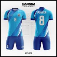 Desain Kaos Sepakbola Printing Warna Biru Sangat Berkelas
