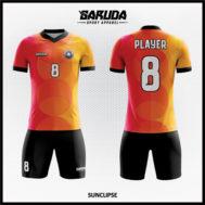 Desain Baju Futsal Printing Warna Orange Motif Lingkaran