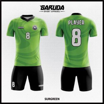 Desain Kostum Futsal Printing Warna Hijau Yang Elegan