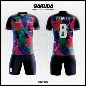Desain Kostum Sepakbola Printing Warna Hitam Motif Daun Tampil Beda