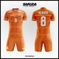 Desain Seragam Sepakbola Printing Warna Orange Yang Dinamis