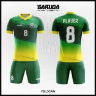 Desain Jersey Sepak Bola Printing Warna Kuning Hijau Sangat Berkelas