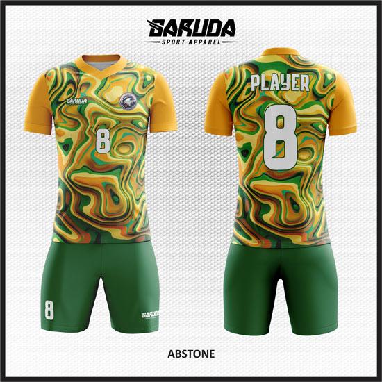 Desain Baju Futsal Full Print Warna Hijau Kuning Motif Bergelombang