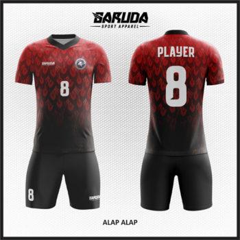 Desain Seragam Sepak Bola Full Print Warna Merah Hitam Berkarakter Kuat