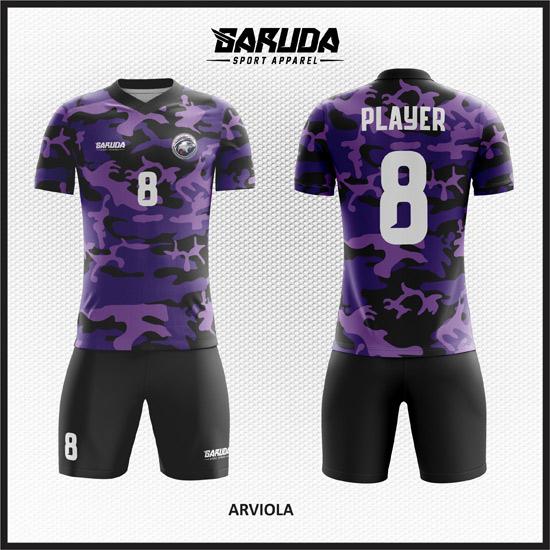Desain Jersey Futsal Full Print Warna Ungu Hitam Motif Doreng Army Terbaru