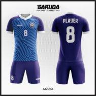 Desain Kostum Sepakbola Printing Warna Biru Yang Gagah