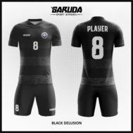 Desain Baju Bola Futsal Full Print Warna Hitam Elegant