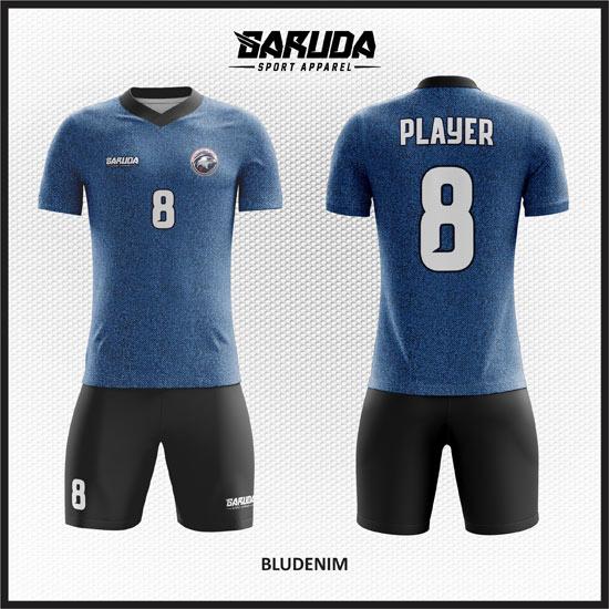 Desain Kaos Futsal Printing Warna Biru Denim Kekinian