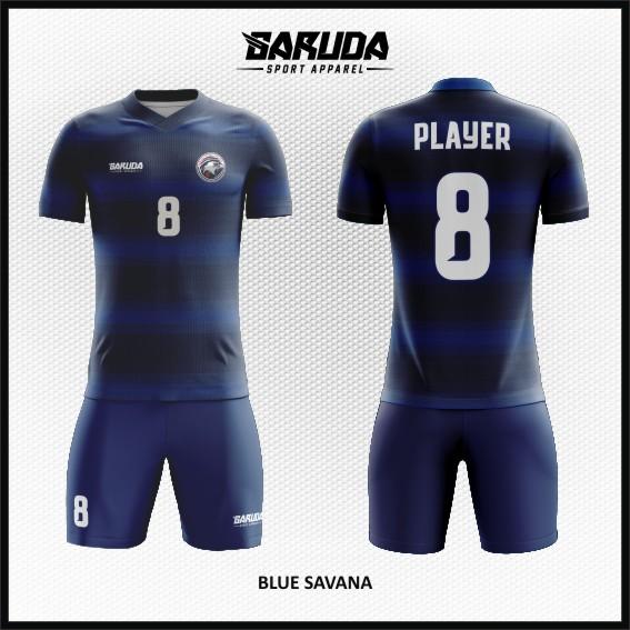 Desain Jersey Sepakbola Printing Warna Biru Yang Elegan
