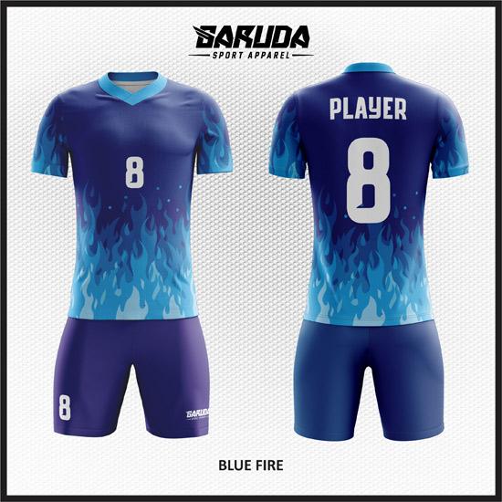 Desain Kostum Futsal Full Print Motif Api Gradasi Warna Biru