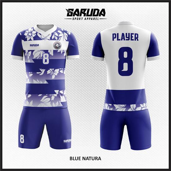 Desain Baju Bola Futsal Motif Bunga Warna Biru Putih
