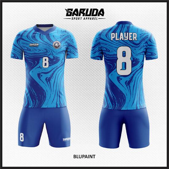 Desain Baju Futsal Full Print Motif Bergelombang Gradasi Warna Biru