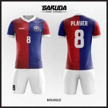 Desain Seragam Futsal Full Print Warna Biru Merah Sangat Menawan