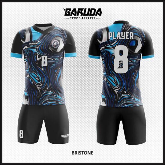 Desain Seragam Sepakbola Printing Warna Biru Hitam Motif Bergelombang Yang Unik