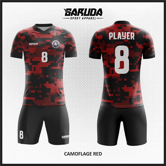 Desain Jersey Futsal Full Print Warna Merah Hitam Motif Camo Yang Keren