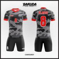 Desain Kostum Futsal Printing Warna Hitam Abu-Abu Motif Doreng Yang Gagah