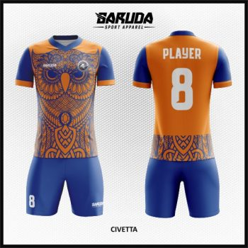 Desain Jersey Sepakbola Printing Warna Biru Orange Motif Ornamen Burung Hantu